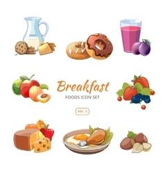 Cartoon breakfast food icons set vector