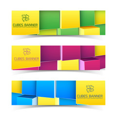 cubes horizontal banners vector image vector image