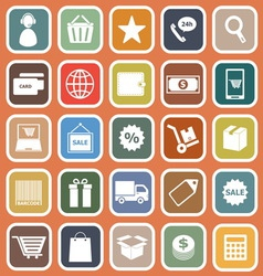 E commerce flat icons on orange background vector image vector image