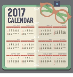 Eyeglasses On Notebook 2017 Printable Calendar vector image vector image