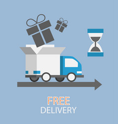 Free delivery concept in flat style - truck with vector