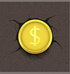 Golden dollar on cracked background vector