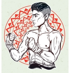 Hand drawn boxer fighter player vector image