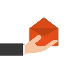 Hand holding open envelope icon vector