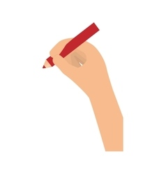 Hand holding red pencil icon image vector