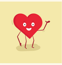 happy heart character with hand up vector image vector image