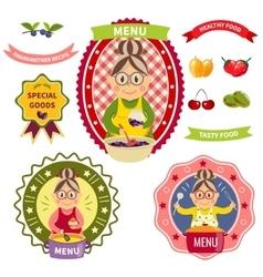 Healthy food menu colorful labels vector