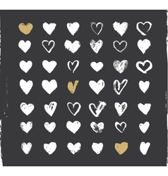 Heart Icons Set hand drawn ions and vector image vector image