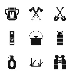 Hike icons set simple style vector