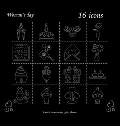 i love you womens doodle 16 icon in set of womens vector image
