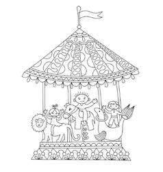 Line art of circus theme merry-go vector