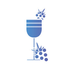 Line wine glass with grapes fruits vector