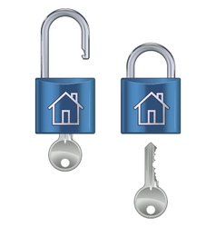 locked and unlocked housing marked vector image vector image