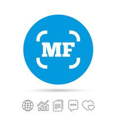 Manual focus photo camera sign icon mf settings vector