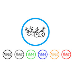 men running over clocks rounded icon vector image