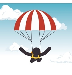 Parachuting man extreme sport graphic vector