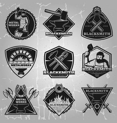 Premium blacksmith emblems set vector