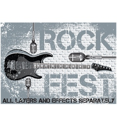 Rock festival template with guitar microphone vector image vector image