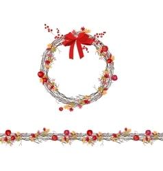 Round autumn wreath with berries vector
