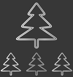 Silver pine tree logo design set vector