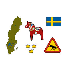 Symbols of sweden icons vector
