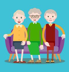 three seated elderly women vector image