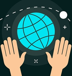 World with hands flat minimal style colorful icon vector