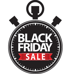 Black friday sale stopwatch black icon with red vector