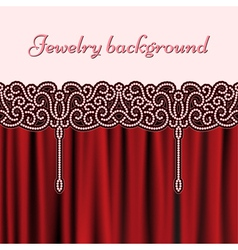 Embroidery red background vector image