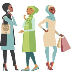 Modern muslim girls vector image