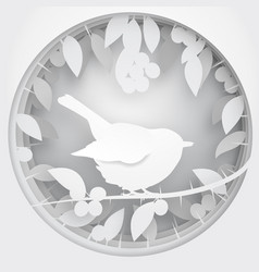 Paper box of shadow to bird on blackthorn tree vector