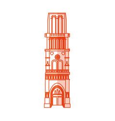 Orange silhouette shading cartoon building vector