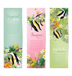 Tropical flowers and exotic fish banners vector