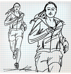 Female runner sketch vector