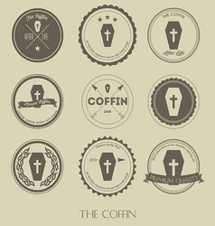 The vintage style of coffin business logo vector