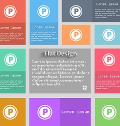 Car parking icon sign set of multicolored buttons vector
