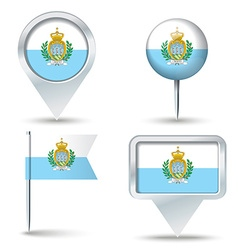 Map pins with flag of san marino vector
