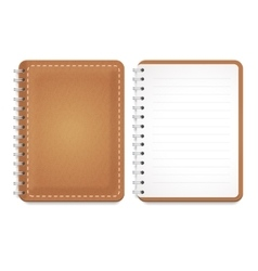 A leather notebook with spiral vector