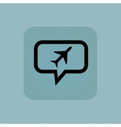 Pale blue plane message icon vector