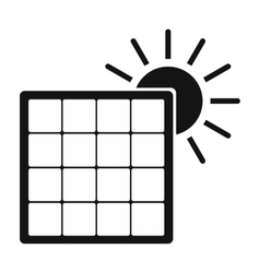 Solar panel with sun simple icon vector