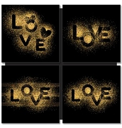 Set of valentines day cards background with gold vector