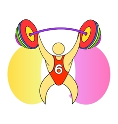 Weightlifter with a barbell vector