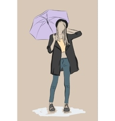 Hand drawn young women with umbrella vector