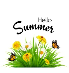 Happy summer holidays background with flowers and vector