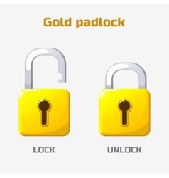 Cartoon gold padlock lock and unlock vector