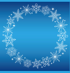 a circular snowflake frame with a blue background vector image