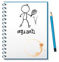 A notebook with a drawing of a person playing vector image vector image