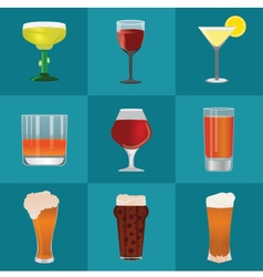 Alcohol and beer icons set vector image vector image