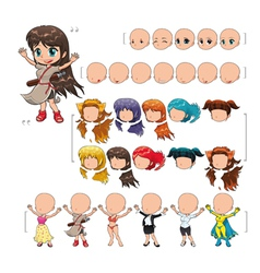 Avatar girl isolated objects vector image vector image