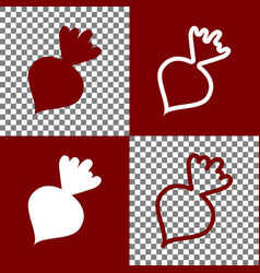 Beet simple sign bordo and white icons vector